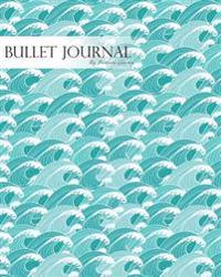 """Bullet Journal Notebook Dotted Grid, Graph Grid-Lined Paper, Large, 8""""x10,""""150 Pages: Japanese Great Water Waves Asia Hand Draw Art Blue: Master Journ"""