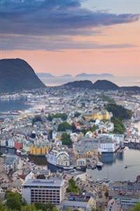Lovely Panoramic View of Alesund Norway at Sunset Journal: 150 Page Lined Notebook/Diary