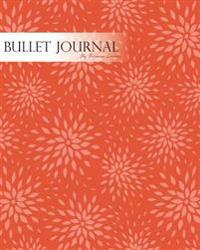 "Bullet Journal Notebook Dotted Grid, Graph Grid-Lined Paper, Large, 8""x10,""150 Pages: Hand Draw Geometric Oriental Flowers Red Orange Cover: Master Jo"
