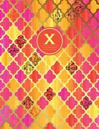 X - Initial Monogram Journal - Dot Grid, Moroccan Orange Pink: Extra Large 8.5 X 11, Soft Cover Notebook