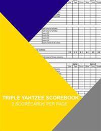 Triple Yahtzee Scorebook: 2 Scorecards Per Page