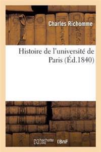 Histoire de L'Universite de Paris