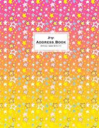 Large Address Book - Office/Desk 8.5 X 11: Pink & Yellow Star Shower