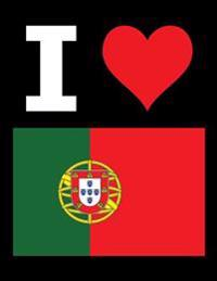 I Love Portugal - 100 Page Blank Notebook - Unlined White Paper, Black Cover: 8.5 X 11; 216 MM X 279 MM; 50 Sheets; Page Numbers; Table of Contents; F