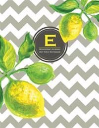 Monogram Journal E - Dot Grid Notebook: Large 8.5 X 11, Yellow Lemon & Grey Chevron