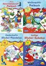 Pixi kreativ Serie Nr. 25: 4er Bundle: Weihnachtsspaß mit Adventskalender und Stickern