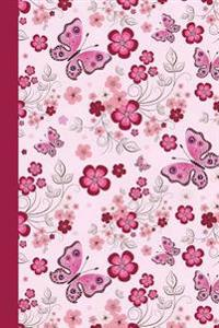Journal: Floral with Butterflies (Pink) 6x9 - Graph Journal - Journal with Graph Paper Pages, Square Grid Pattern