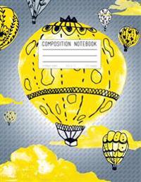 Composition Notebook - College Ruled, 8.5 X 11: Yellow Watercolor Hot Air Balloons