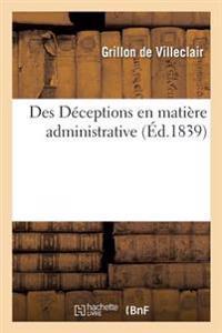 Des Deceptions En Matiere Administrative