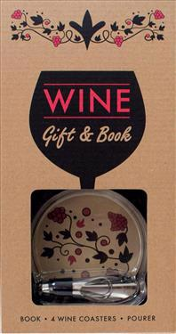 Wine Gift & Book: Book, 4 Coasters, Pourer
