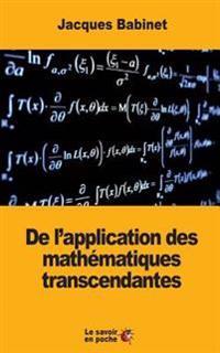 de l'Application Des Mathématiques Transcendantes