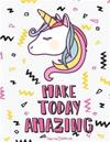 Unicorn Notebook - Never Stop Dreaming: Doodle Diary & Inspirational Journal (Large Print) 110 Pages of Lined & Blank Paper for Writing and Drawing (C