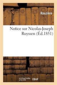 Notice Sur Nicolas-Joseph Ruyssen