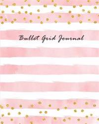 Bullet Grid Journal: Pastel Pink with Gold Dots 150 Dot Grid Pages (Size 8x10 Inches) with Bullet Journal Sample Ideas