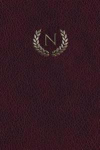 Monogram N Notebook: 150 Page Journal Diary Notebook