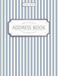 Large Print Address Book: Blue Pinstripes