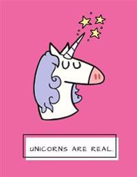 Unicorns Are Real: Hot Pink Unicorn Notebook, Journal, Diary, 125 Lined Pages (Large, 8.5x11 In.)
