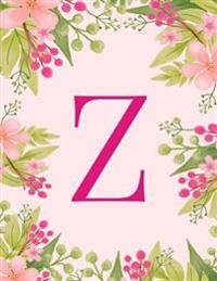 Z: Monogram Initial Z Notebook Pink Floral Hawaiian Haze Composition Notebook - Wide Ruled, 8.5 X 11, 110 Pages: Journal,