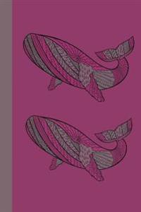 Journal: Whales (Pink) 6x9 - Graph Journal - Journal with Graph Paper Pages, Square Grid Pattern
