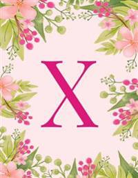 X: Monogram Initial X Notebook Pink Floral Hawaiian Haze Composition Notebook - Wide Ruled, 8.5 X 11, 110 Pages: Journal,