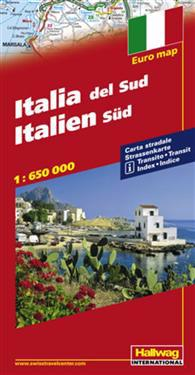 Södra Italien Distoguide Hallwag karta : 1:650000