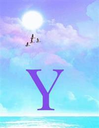 Y: Monogram Initial y Notebook for Women, Teens and Girls - See Your Initials in the Clouds Paradise Purple Sky - 8.5 X 1