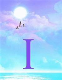 I: Monogram Initial I Notebook for Women, Teens and Girls - See Your Initials in the Clouds Paradise Purple Sky - 8.5 X 1