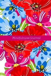 Mindfulness Journal in Red Floral Poppy Design: Happiness Journal/Mindfulness Journal Notebook