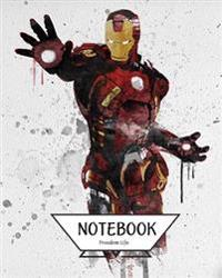 Notebook Journal Graph, Line, Blank No Lined: Watercolor Iron Man: Pocket Notebook Journal Diary, 120 Pages, 8 X 10 (Notebook Journal)