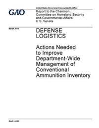 Defense Logistics, Actions Neded to Improve Department-Wide Management of Conventional Ammunition Inventory: Report to the Chairman, Committee on Home