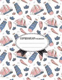 Composition Notebook, 8.5 X 11, 110 Pages: Boats-Shells-Vintage-Style: (School Notebooks)