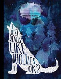 I Just Really Like Wolves, Ok? Composition Notebook -College Ruled: College Ruled Writer's Notebook or Journal for School / Work / Journaling
