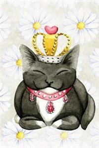 Sweet Black and White Kitty Cat Wearing a Crown and Jewels Watercolorjournal: 150 Page Lined Notebook/Diary