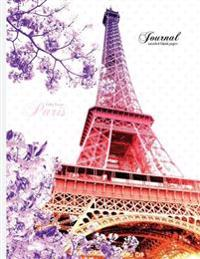 Eiffel Tower, Paris Journal - Unruled Blank Paper: 8.5 X 11 Notebook, Pink, Purple, and White