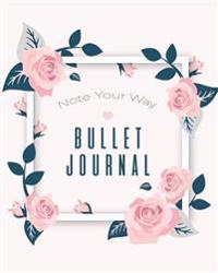 Dot Grid Bullet Journal, Daily Dated Notebook Diary, Pretty White Pink Flower: Large Quarterly Bullet Journal Blank Pages with Number, 150p, 8x10