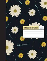 Daisy Notebook in Gray Background - Wild Ruled Papaer: Composition Notebook,8.15 X 11 Inch,110 Page