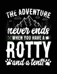 The Adventure Never Ends When You Have a Rotty and a Tent!: Composition Notebook Journal, 8.5 X 11 Large, 120 Pages College Ruled (Back to School Gift
