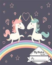 Notebook: My Note My Idea,8 X 10, 110 Pages: Couple Unicorn: (School Notebooks)