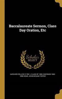 BACCALAUREATE SERMON CLASS DAY