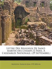 Lettre Des Religieux De Saint-martin-des-champs À Paris, À L'assemblée Nationale. (29 Septembre.)