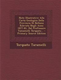 Note Illustrative Alla Carta Geologica Della Provincia Di Belluno Rilevata Negli Anni 1877-81, Dal Professore Tamamelli Torquato...