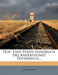 Hof- Und Staats-handbuch Des Kaiserthumes Österreich...
