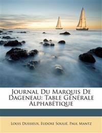 Journal Du Marquis de Dageneau: Table Gnrale Alphabtique