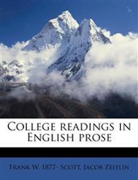 College readings in English prose