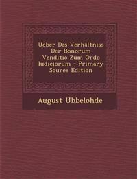 Ueber Das Verhältniss Der Bonorum Venditio Zum Ordo Iudiciorum
