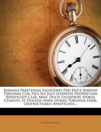 Romana Praetensae Filiationis Pro Duce Marino Torlonia Cur. Filii Sui Julii Haeredis Proprietarii Beneficiati Clar. Mem. Ducis Salvatrois Sforza Cesar
