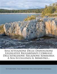 Sull'attuazione Delle Disposizioni Legislative Riguardanti L'obbligo Dell'istruzione: Relazione Sommaria A Sua Eccellenza Il Ministro...