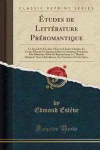 Études de Littérature Préromantique