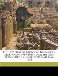The law firm of Bronson, Bronson & McKinnon: 1919-1941 : oral history transcript / and related material, 197