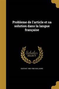 FRE-PROBLEME DE LARTICLE ET SA